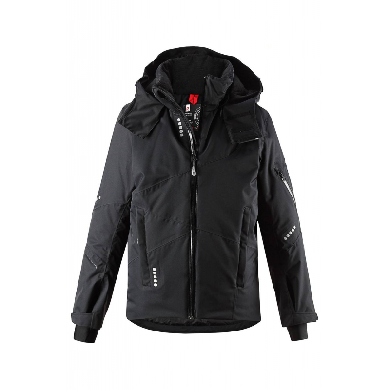 КурткаКуртка черногоцвета серии Reima TEC+ марки REIMA длямальчиков.<br>Курткавыполнена из водоотталкивающего и ветронепроницаемого материала с грязеотталкивающими свойствами.Куртка дополнена двумя внешними карманами на молнии и двумя внутренними карманами.Безопасный съемный капюшон на кнопках отделан мягкой подкладкойвнутри. Все швы куртки проклеены, водонепроницаемы. Манжеты на липучках и с резинками, а также защитная юбка обеспечивают плотное прилегание и защищают от ветра. Светоотражающие детали на куртке обеспечивают безопасность в темное время суток.<br><br>Размер: 5 лет<br>Цвет: Черный<br>Рост: 110<br>Пол: Для мальчика<br>Артикул: 643056<br>Страна производитель: Китай<br>Сезон: Осень/Зима<br>Состав: 100% Полиамид<br>Состав подкладки: 100% Полиэстер<br>Бренд: Финляндия<br>Вид застежки: Молния<br>Наполнитель: 100% Полиэстер<br>Покрытие: Полиуретан<br>Температура: до -20°<br>Тип: Зима<br>Серия: Reimatec+