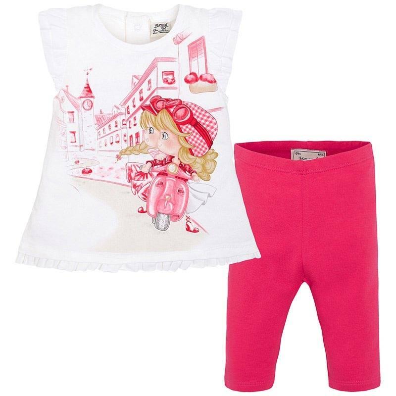 КомплектКомплект футболка+леггинсымалиновогоцвета марки Mayoral.<br>В комплект входит футболка, выполненная из хлопка с добавлением эластана, а также хлопковые однотонныелеггинсы с резинкой на поясе.Футболка декорирована милыми рюшами и принтом с изображением озорных девочек на мопеде.<br><br>Размер: 12 месяцев<br>Цвет: Малиновый<br>Рост: 80<br>Пол: Для девочки<br>Артикул: 643624<br>Страна производитель: Индия<br>Сезон: Весна/Лето<br>Состав верха: 92% Хлопок, 8% Эластан<br>Состав низа: 92% Хлопок, 8% Эластан<br>Бренд: Испания<br>Вид застежки: Кнопки
