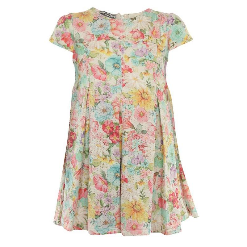ПлатьеПлатье молочногоцвета марки Mayoral.<br>Нежное платье с завышенной талией декорировано ярким цветочным принтом. Платье застегивается на потайную молнию и дополнено подкладкой из чистого хлопка.<br><br>Размер: 4 года<br>Цвет: Бежевый<br>Рост: 104<br>Пол: Для девочки<br>Артикул: 642617<br>Страна производитель: Индия<br>Сезон: Весна/Лето<br>Состав: 65% Полиэстер, 35% Хлопок<br>Состав подкладки: 100% Хлопок<br>Бренд: Испания<br>Вид застежки: Молния