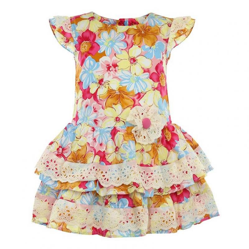 ПлатьеПлатьерозовогоцвета маркиLP Collection.<br>Платье на подкладке, выполненное из чистого хлопка, украшено принтом с изображением красивыхкрупных цветов, а также декорировано милымкружевом и цветком на талии.Модель застегивается сзади на пуговицы и дополнена небольшим подъюбником, который придает легкуюпышность.<br><br>Размер: 3 года<br>Цвет: Розовый<br>Рост: 98<br>Пол: Для девочки<br>Артикул: 643236<br>Страна производитель: Таиланд<br>Сезон: Весна/Лето<br>Состав: 100% Хлопок<br>Состав подкладки: 100% Хлопок<br>Бренд: Таиланд<br>Вид застежки: Пуговицы