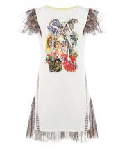 Платье комбинированное с принтом Choupette