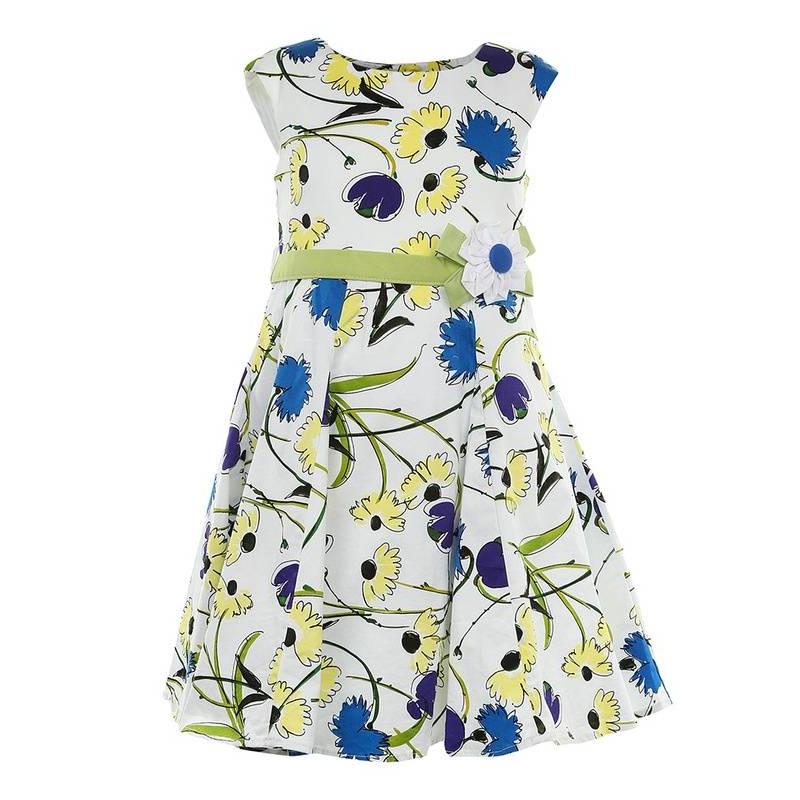 ПлатьеПлатьесинегоцвета маркиLP Collection.<br>Платье на подкладке, выполненное из чистого хлопка, украшенопринтом с изображением контрастных синих и желтых цветов, а также милым цветком на поясе. Модель застегивается сзади на пуговицы, а зеленый пояс завязывается на бант, дополнено платьеподъюбником, который придает легкуюпышность.<br><br>Размер: 9 лет<br>Цвет: Синий<br>Рост: 134<br>Пол: Для девочки<br>Артикул: 643335<br>Страна производитель: Таиланд<br>Сезон: Весна/Лето<br>Состав: 100% Хлопок<br>Состав подкладки: 100% Хлопок<br>Бренд: Таиланд<br>Вид застежки: Пуговицы