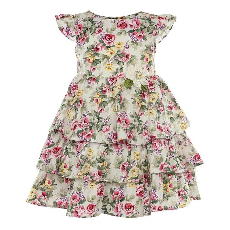 ПлатьеПлатьемолочногоцвета маркиLP Collection.<br>Платье на подкладке, выполненное из чистого хлопка, украшено принтом с изображением нежных роз, а также декорированонебольшим цветком и зеленой вставкой на талии. Модель застегивается сзади на пуговицы, апояс завязывается на бант, дополнено платьеподъюбником, который придает легкуюпышность.<br><br>Размер: 3 года<br>Цвет: Бежевый<br>Рост: 98<br>Пол: Для девочки<br>Артикул: 643263<br>Страна производитель: Таиланд<br>Сезон: Весна/Лето<br>Состав: 100% Хлопок<br>Состав подкладки: 100% Хлопок<br>Бренд: Таиланд<br>Вид застежки: Пуговицы