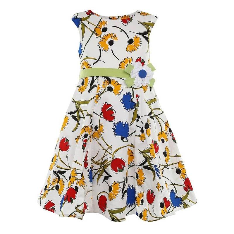 ПлатьеПлатьекрасногоцвета маркиLP Collection.<br>Платье на подкладке, выполненное из чистого хлопка, украшенопринтом с изображением контрастных красных, желтых и синих цветов, а также милым цветком на поясе. Модель застегивается сзади на пуговицы, а зеленый пояс завязывается на бант, дополнено платьеподъюбником, который придает легкуюпышность.<br><br>Размер: 6 лет<br>Цвет: Красный<br>Рост: 116<br>Пол: Для девочки<br>Артикул: 643336<br>Страна производитель: Таиланд<br>Сезон: Весна/Лето<br>Состав: 100% Хлопок<br>Состав подкладки: 100% Хлопок<br>Бренд: Таиланд<br>Вид застежки: Пуговицы