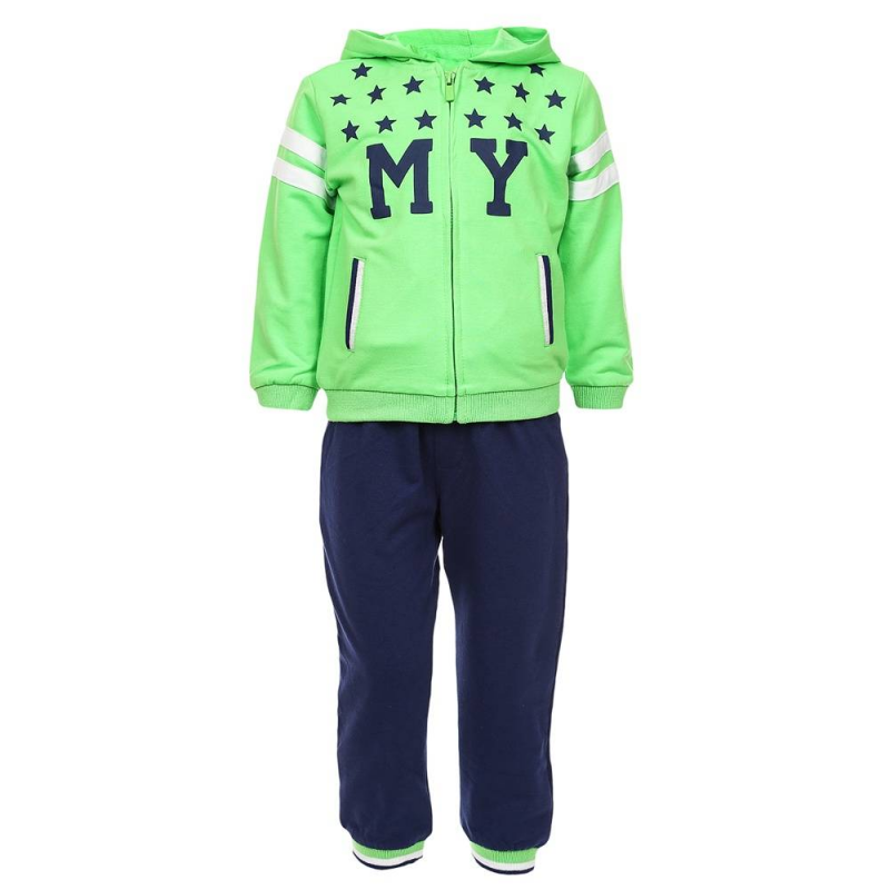Спортивный костюмСпортивный костюм зеленогоцвета марки Mayoralдля мальчиков.<br>В комплект входят хлопковые толстовка, брюки и шорты. Зеленаятолстовка на молнии декорирована стильным принтом темно-синего цвета, а также белыми полосками. Модель дополнена капюшоном и карманами. Темно-синиебрюки с удобной резинкой на поясе украшены зелеными манжетами. Серые шорты имеют карманы.<br><br>Размер: 18 месяцев<br>Цвет: Зеленый<br>Рост: 86<br>Пол: Для мальчика<br>Артикул: 640837<br>Бренд: Испания<br>Страна производитель: Китай<br>Сезон: Весна/Лето<br>Состав верха: 62% Полиэстер, 34% Хлопок, 4% Эластан<br>Состав низа: 58% Хлопок, 38% Полиэстер, 4% Эластан<br>Вид застежки: Молния