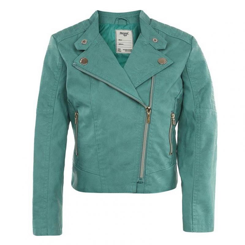 КурткаКурткабирюзовогоцвета марки Mayoral для девочек.<br>Стильная куртка выполнена из искусственной кожи, застегивается на косую молнию и кнопки. Модель декорирована золотистой фурнитуройи дополнена карманами. На воротнике куртка застегивается на кнопку.<br><br>Размер: 10 лет<br>Цвет: Бирюзовый<br>Рост: 140<br>Пол: Для девочки<br>Артикул: 641639<br>Страна производитель: Китай<br>Сезон: Весна/Лето<br>Состав: 100% Полиуретан<br>Состав подкладки: 100% Полиэстер<br>Бренд: Испания<br>Вид застежки: Молния
