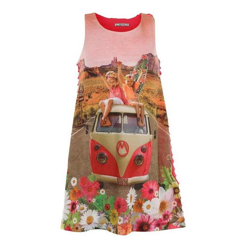 ПлатьеПлатьемалиновогоцвета марки Mayoral.<br>Яркоеи легкое платье с рюшами на спинке декорировано изображениемюных любительниц серфинга, а так же летним цветочным принтом.<br><br>Размер: 9 лет<br>Цвет: Малиновый<br>Рост: 134<br>Пол: Для девочки<br>Артикул: 641575<br>Страна производитель: Китай<br>Сезон: Весна/Лето<br>Состав: 98% Полиэстер, 2% Эластан<br>Состав подкладки: 100% Полиэстер<br>Бренд: Испания