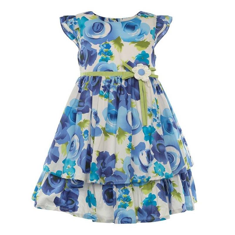 ПлатьеПлатье голубого цвета маркиLP Collection.<br>Платье на подкладке с коротким рукавом, выполненное из чистого хлопка, декорировано цветочным принтом, нежнымирюшами, а также зеленой вставкой на поясе скрасивым цветком. Модель застегивается сзади на пуговицы, апояс завязывается на бант, дополнено платьеподъюбником, который придает легкуюпышность.<br><br>Размер: 6 лет<br>Цвет: Голубой<br>Рост: 116<br>Пол: Для девочки<br>Артикул: 643305<br>Страна производитель: Таиланд<br>Сезон: Весна/Лето<br>Состав: 100% Хлопок<br>Состав подкладки: 100% Хлопок<br>Бренд: Таиланд<br>Вид застежки: Пуговицы