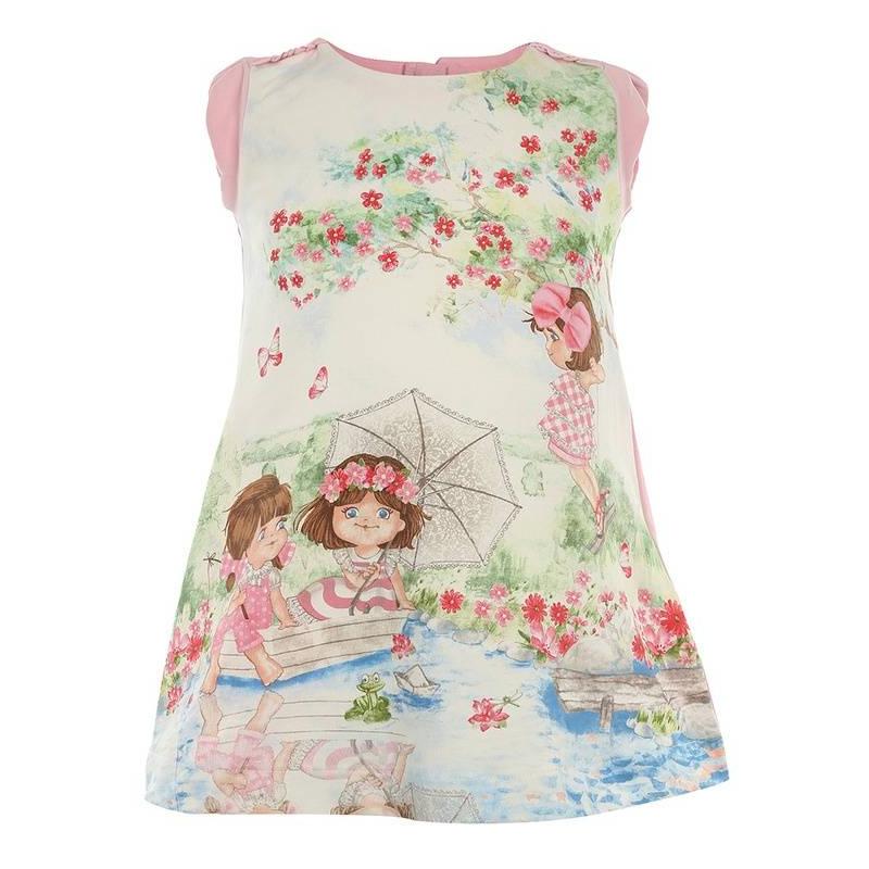 ПлатьеПлатье розовогоцвета марки Mayoral.<br>Летнее хлопковое платье с молнией на спинке декорировано веселымизображением играющих девочек у реки, а также украшенорюшами на плечах.<br><br>Размер: 18 месяцев<br>Цвет: Розовый<br>Рост: 86<br>Пол: Для девочки<br>Артикул: 640846<br>Бренд: Испания<br>Страна производитель: Индия<br>Сезон: Весна/Лето<br>Состав: 92% Хлопок, 8% Эластан<br>Вид застежки: Молния