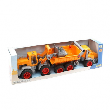 Игрушки, Самосвал и трактор-погрузчик КонсТрак Полесье (оранжевый)641928, фото