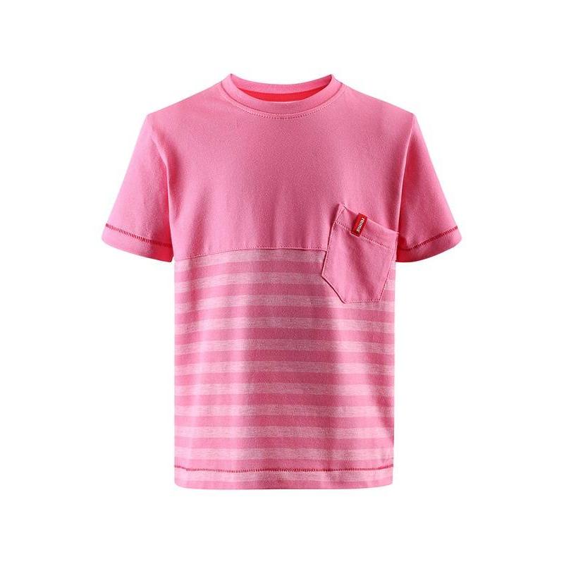 ФутболкаФутболка розового цвета марки REIMA длядевочек.<br>Хлопковаяфутболкавыполнена в нежном цвете и декорирована полосатой вставкой. Модель с коротким рукавом дополнена карманом.<br><br>Размер: 5 лет<br>Цвет: Розовый<br>Рост: 110<br>Пол: Для девочки<br>Артикул: 642989<br>Страна производитель: Китай<br>Сезон: Весна/Лето<br>Состав: 65% Хлопок, 30% Полиэстер, 5% Эластан<br>Бренд: Финляндия<br>Тип: Лето<br>Серия: Reima