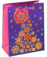 Пакет Ёлка из снежинок люкс 23х17х10 см Веселый Праздник