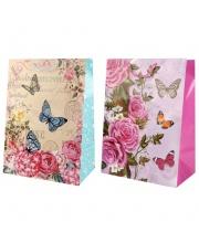 Пакет подарочный Цветы и Бабочки 18х23х9 см Играем Вместе