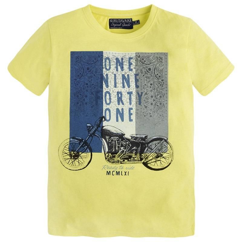 ФутболкаФутболкажелтогоцвета марки Mayoral для мальчиков.<br>Яркая футболка выполнена из хлопка и декорирована стильным принтом с изображением мотоцикла.<br><br>Размер: 10 лет<br>Цвет: Желтый<br>Рост: 140<br>Пол: Для мальчика<br>Артикул: 644104<br>Страна производитель: Бангладеш<br>Сезон: Весна/Лето<br>Состав: 100% Хлопок<br>Бренд: Испания