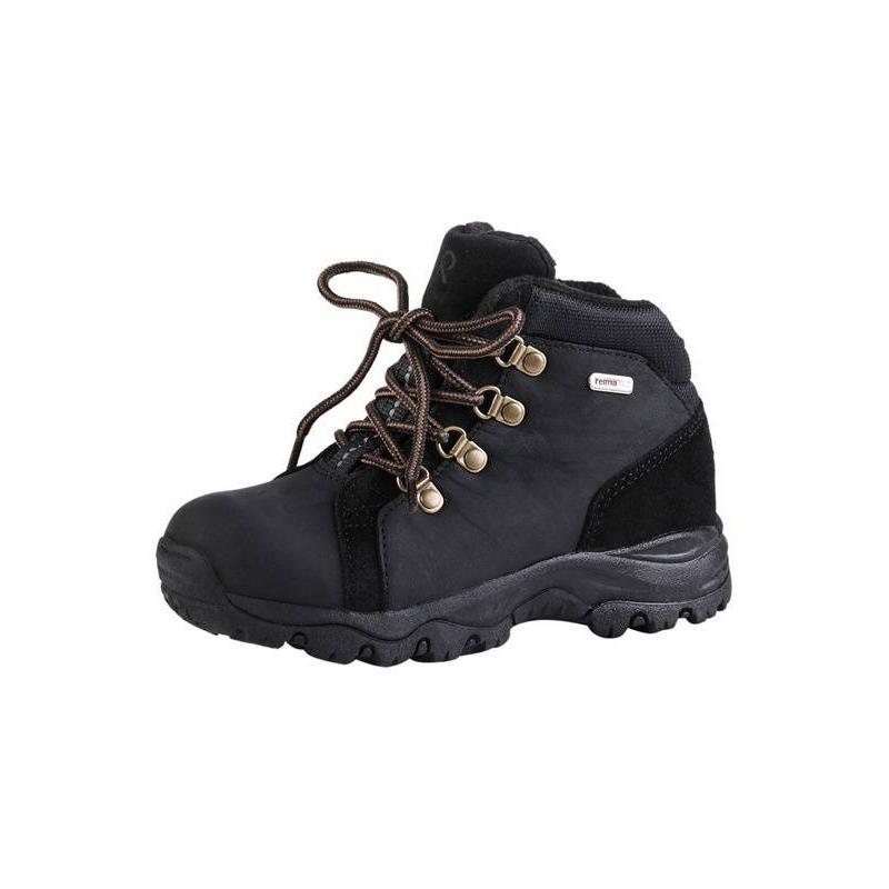 БотинкиБотинкичерногоцвета серии Reima TEC марки REIMA.<br>Водонепроницаемые ботинки с очень высокой степенью утепления. Верх выполнен из натуральной кожи и замши, подкладка - из шерсти. Стельки из материала EVA обеспечивают мягкость и амортизацию (сверху стельки шерстяные). Подошва из термопластичной резины подходит для любых поверхностей.Светоотражающие детали обеспечивают безопасность ребенка.<br><br>Размер: 34<br>Цвет: Черный<br>Пол: Для мальчика<br>Артикул: 643102<br>Страна производитель: Китай<br>Сезон: Осень/Зима<br>Материал верха: Натуральная кожа<br>Материал подкладки: Текстиль<br>Материал стельки: Текстиль<br>Материал подошвы: ТПР (термопластичная резина)<br>Бренд: Финляндия<br>Тип: Зима<br>Серия: Reimatec