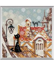 Набор алмазной мозаики Город и кошки. Зима РИОЛИС