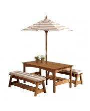 Стол с двумя скамейками и зонтом KidKraft