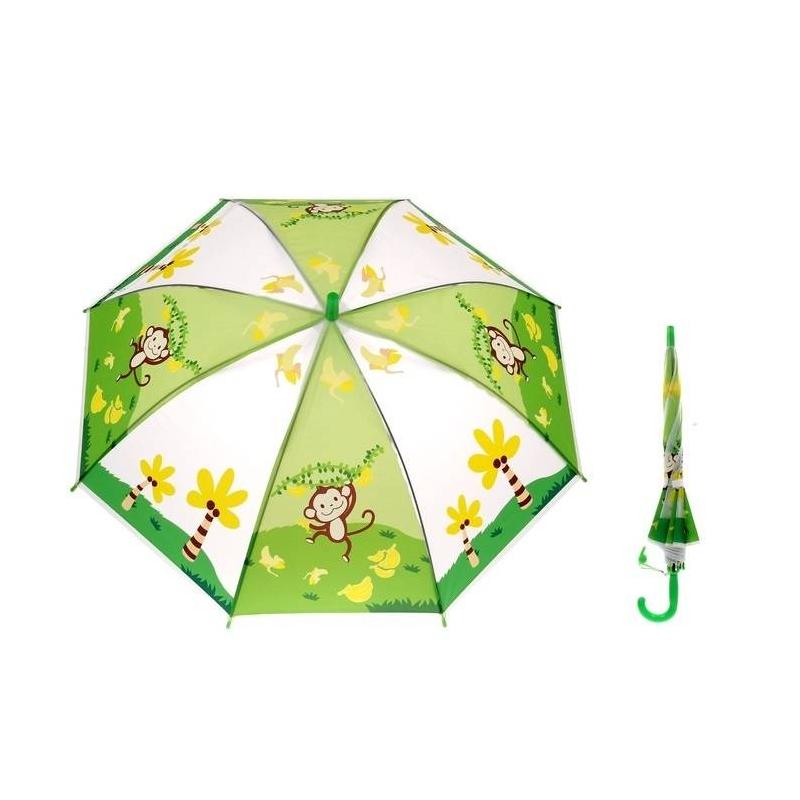 Зонт-полуавтомат МартышкаЗонт-полуавтомат Мартышка марки Sima Land.<br>Детский зонт с ярким рисунком защитит от дождя и поднимет настроение в пасмурный день. Прозрачный зонт уркашен изображениями забавных мартышек.<br>Большой купол надежно укрывает от дождя. Легкий, но крепкий каркас зонтика состоит из восьми металлических спиц на креплениях и прочного основного стержня. Благодаря долговечной конструкции зонт не выгибается от ветра и сохраняет свою форму. Специальные пластиковые наконечники на спицах обеспечивают безопасность использования зонта детьми.<br>Диаметр зонта:77см.<br><br>Цвет: Зеленый<br>Возраст от: 3 года<br>Пол: Не указан<br>Артикул: 644380<br>Страна производитель: Китай<br>Размер: от 3 лет