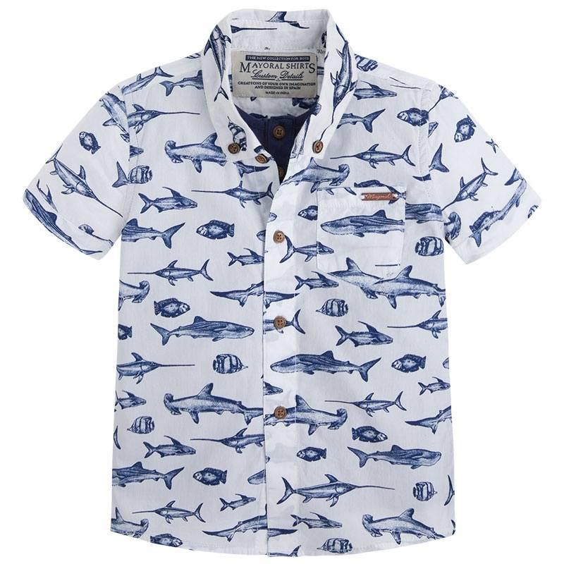 Рубашка - MAYORALРубашкатемно-синегоцвета марки Mayoral для мальчиков.<br>Рубашкас коротким рукавом выполнена изчистогохлопкаидекорирована принтом с изображениемразнообразных рыб, а также модель дополнена карманом и имитацией майки.<br><br>Размер: 9 лет<br>Цвет: Темносиний<br>Рост: 134<br>Пол: Для мальчика<br>Артикул: 643843<br>Страна производитель: Индия<br>Сезон: Весна/Лето<br>Состав: 100% Хлопок<br>Бренд: Испания