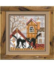 Набор для вышивания Город и кошки Осень РИОЛИС