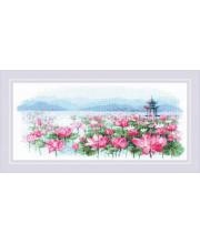 Набор для вышивания Поле лотосов Пагода на воде РИОЛИС