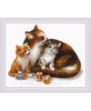 Набор для вышивания Кошка с котятами РИОЛИС