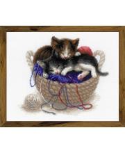 Набор для вышивания Котята в корзине РИОЛИС