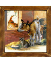 Частичная вышивка Козленок и котята РИОЛИС