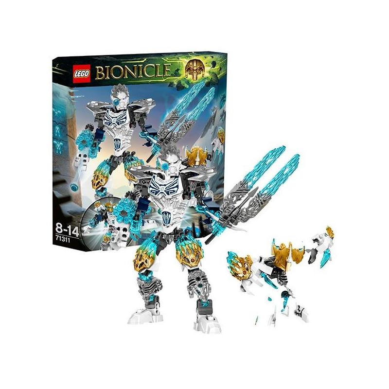 Конструктор Биониклы Копака и Мелум - Объединение ЛьдаКонструктор Биониклы (Bionicle) Копака и Мелум - Объединение Льда марки LEGO.<br>В комплект входит целых 2 персонажа -Тоа Копака и тотемное животное Льда - Мелум. У Копаки сдержанный характер,старается всегда делать все правильно.Тотемное животное Мелум - вополщение стихии Льда. Он ассоциируется с чистотой, благородством, гордостью и справедливостью.Оружие Копаки - многозарядный шутер и необычный меч с двумя прозрачными лезвиями стихии.Мелум отдаленно напоминает белого медведя или барса - хищника, обитающего в заснеженных горах.<br>В наборе:<br>- Сборная фигурка Тоа Копаки и тотемного животного Льда - Мелума<br>- Двухцветная Маска Стихии (на герое)<br>- Двухцветная золотая Маска Стихии<br>- Оружие Стихии - скорострельный шутер и клинок Льда с двойным лезвием<br>- Биоброня Стихии — нагрудник с принтами и древними рунами<br>Характеристики:<br>- Функция объединения на спине<br>- Функция вращения торса (колесико сзади)<br>- Комбинируется с Мелумом и другими тотемными животными<br>Кол-во деталей:171<br>Размеры упаковки: 25 х 5,6 х 23,6см<br><br>Возраст от: 8 лет<br>Пол: Для мальчика<br>Артикул: 642805<br>Бренд: Дания<br>Размер: от 8 лет