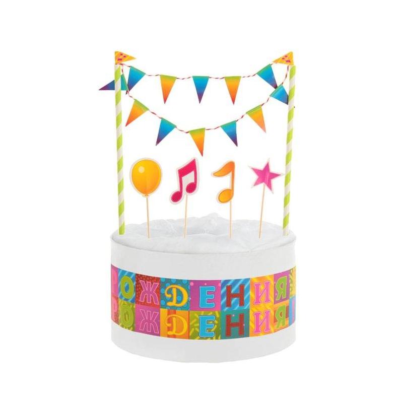 Набор для торта ПраздникНабор для торта Праздник маркиSima Land.<br>Оригинальное украшение для торта придется по вкусу любой хозяйке и мгновенно создаст праздничное настроение.<br>В набор входит:<br>-1 гирлянда<br>- 4 пики<br>- лента для торта, 100 см.<br>Диаметр: 30 см<br><br>Возраст от: 0 месяцев<br>Пол: Не указан<br>Артикул: 644439<br>Страна производитель: Китай<br>Размер: Без размера