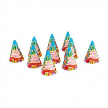 Бумажные колпаки С днем рождения! Красивый торт 10 шт.