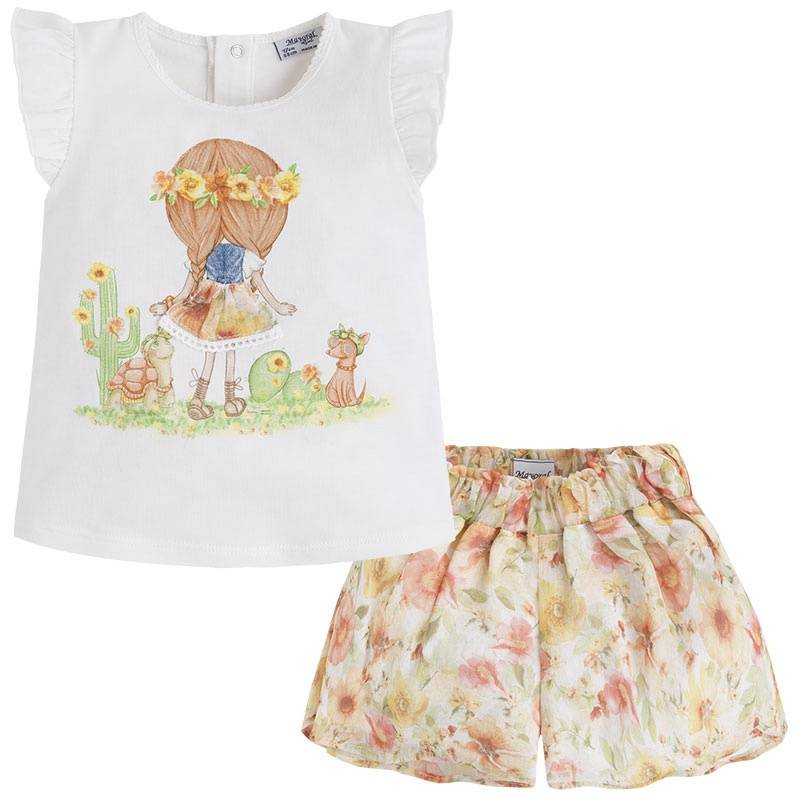 КомплектКомплектшорты+футболка желтого цвета марки Mayoral для девочек.<br>В комплектвходятшорты на подкладке и футболка с коротким рукавом. Шорты на широкой резинкедополненыподкладкой белого цвета. Футболка декорирована принтом с изображениемдевочки и зверушек, а такжеимеются кнопки для удобства переодевания малышки.<br><br>Размер: 2 года<br>Цвет: Желтый<br>Рост: 92<br>Пол: Для девочки<br>Артикул: 645063<br>Страна производитель: Китай<br>Сезон: Весна/Лето<br>Состав верха: 98% Хлопок, 2% Эластан<br>Состав низа: 65% Полиэстер, 35% Хлопок<br>Состав подкладки: 100% Полиэстер<br>Бренд: Испания<br>Вид застежки: Кнопки