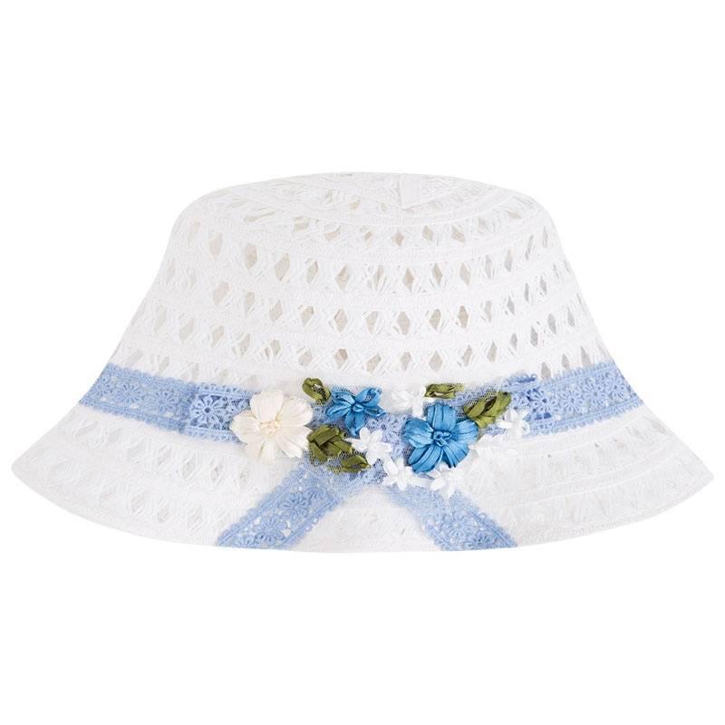 ШляпаСоломенная шляпа голубого цвета марки Mayoral для девочек.<br>Красивая шляпа украшена нежным кружевом и милыми цветами. Она дополнит летний и легкий образ ребенка.<br><br>Цвет: Голубой<br>Размер шапки: 54<br>Пол: Для девочки<br>Артикул: 645106<br>Бренд: Испания<br>Страна производитель: Китай<br>Сезон: Весна/Лето<br>Состав: 88% Бумага, 12% Полиэстер<br>Размер: Без размера