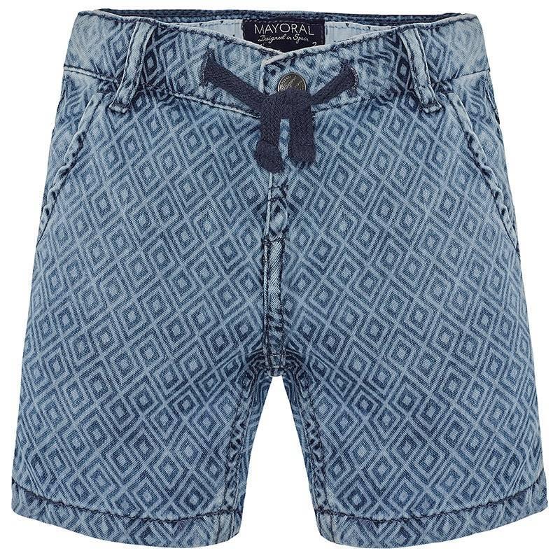 ШортыШорты голубого цвета марки Mayoral для мальчиков.<br>Джинсовые шорты из чистого хлопка украшеныгеометрическимпринтом и декоративными потертостями. Изделие дополнено завязками на поясе, а также передними и задними карманами.<br><br>Размер: 3 года<br>Цвет: Голубой<br>Рост: 98<br>Пол: Для мальчика<br>Артикул: 645351<br>Страна производитель: Пакистан<br>Сезон: Весна/Лето<br>Состав: 100% Хлопок<br>Бренд: Испания<br>Вид застежки: Кнопки