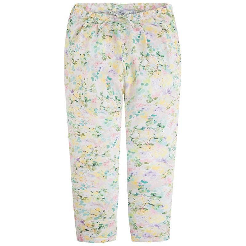 БрюкиБрюки желтогоцвета марки Mayoral для девочек.<br>Легкие брюки, выполненные из вискозы, украшенынежным цветочным принтом и милым бантом, модель также дополнена небольшими карманами и на талииспециальной резинкой на пуговицах.<br><br>Размер: 12 лет<br>Цвет: Желтый<br>Рост: 152<br>Пол: Для девочки<br>Артикул: 645382<br>Бренд: Испания<br>Страна производитель: Марокко<br>Сезон: Весна/Лето<br>Состав: 100% Вискоза