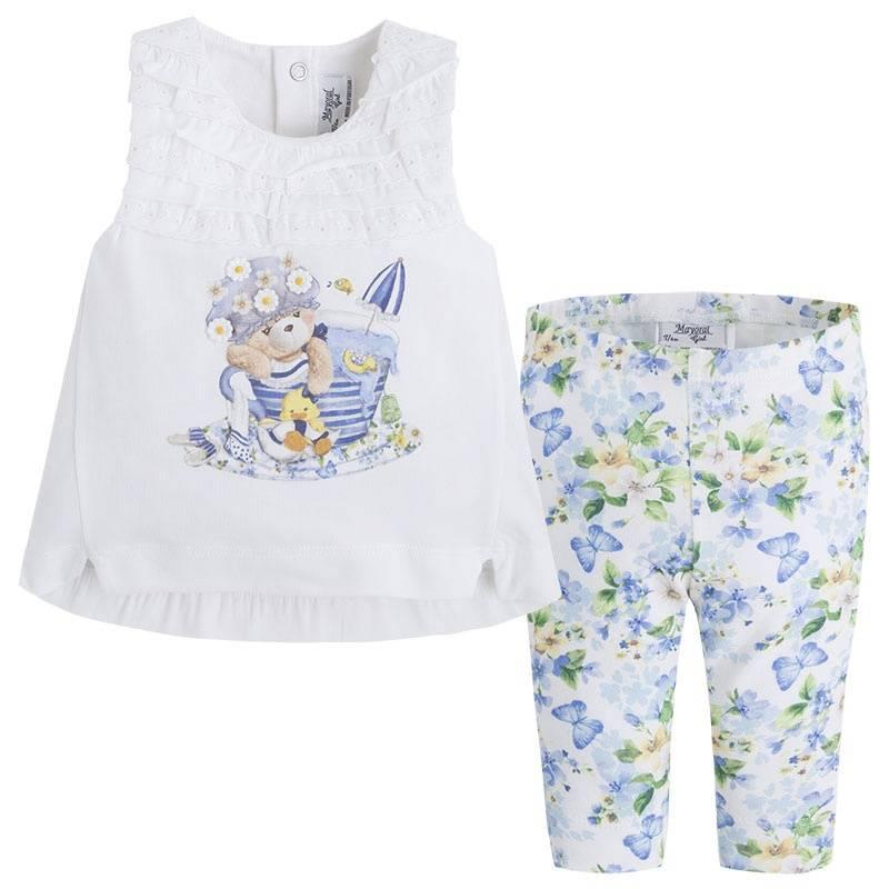 КомплектКомплект футболка+леггинсы темно-синегоцвета марки Mayoral для девочек.<br>В комплект входят леггинсы, декорированные цветочным принтом, и футболка с изображениемкупающегося мишки, украшеннаярюшами. Имеются кнопки на спинке для удобства переодевания малышки.<br><br>Размер: 2 года<br>Цвет: Темносиний<br>Рост: 92<br>Пол: Для девочки<br>Артикул: 645165<br>Страна производитель: Индия<br>Сезон: Весна/Лето<br>Состав: 96% Хлопок, 4% Эластан<br>Бренд: Испания<br>Вид застежки: Кнопки