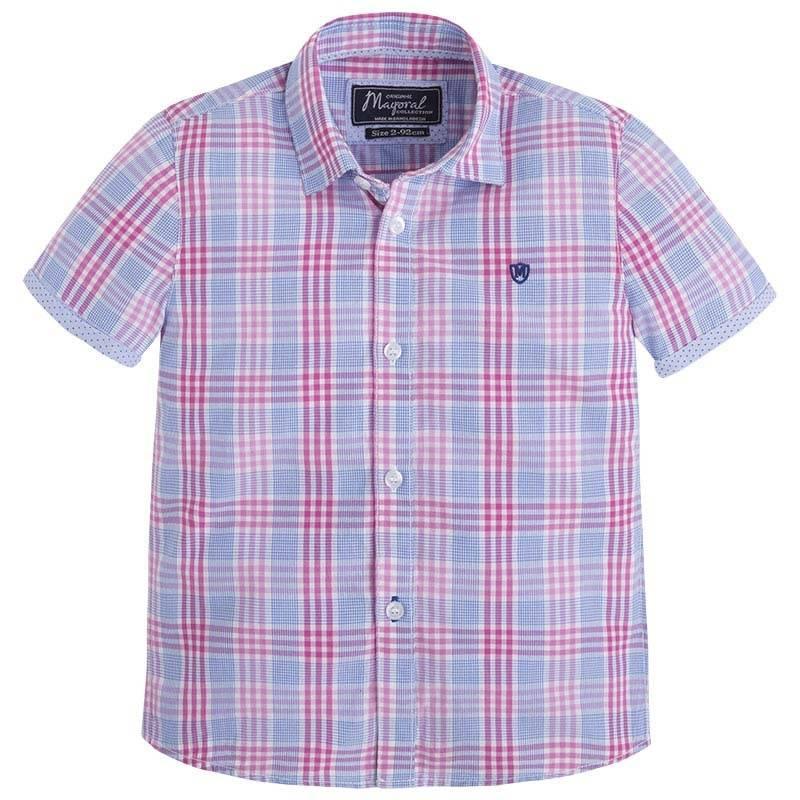 РубашкаРубашка розового цвета марки MAYORAL для мальчиков.<br>Рубашка с коротким рукавом из натурального хлопка украшена клеткой, а также дополнена вышивкойлоготипа бренда и отворотами из голубой ткани с геометрическимпринтом.<br><br>Размер: 9 лет<br>Цвет: Розовый<br>Рост: 134<br>Пол: Для мальчика<br>Артикул: 645197<br>Страна производитель: Бангладеш<br>Сезон: Весна/Лето<br>Состав: 100% Хлопок<br>Бренд: Испания<br>Вид застежки: Пуговицы