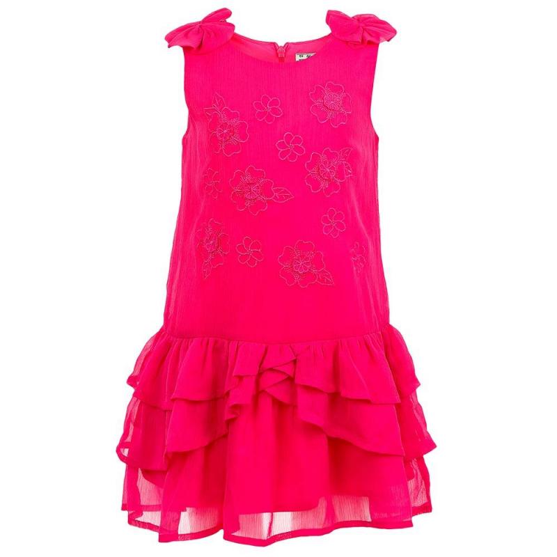 ПлатьеПлатье малинового цвета марки Mayoral.<br>Яркое платье без рукавов декорировано цветочной вышивкой и бантами, а также дополнено гладкой подкладкой.Платье застегивается на потайную молнию на спинке.<br><br>Размер: 7 лет<br>Цвет: Малиновый<br>Рост: 122<br>Пол: Для девочки<br>Артикул: 645216<br>Страна производитель: Индия<br>Сезон: Весна/Лето<br>Состав: 100% Полиэстер<br>Состав подкладки: 100% Полиэстер<br>Бренд: Испания<br>Вид застежки: Молния