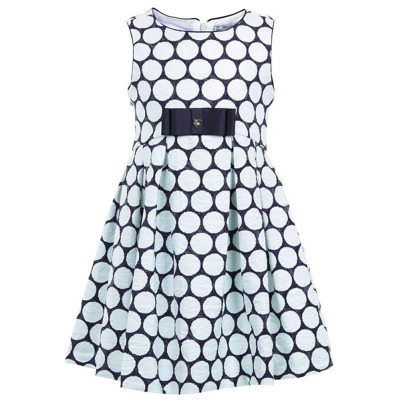 ПлатьеПлатье синего цвета марки Mayoral.<br>Хлопковое платьебез рукавов украшено узором, белыми кружками ибантом, а также дополнено подкладкой на груди. Платье застегивается на потайную молнию на спинке.<br><br>Размер: 8 лет<br>Цвет: Синий<br>Рост: 128<br>Пол: Для девочки<br>Артикул: 645103<br>Страна производитель: Марокко<br>Сезон: Весна/Лето<br>Состав: 79% Хлопок, 18% Полиамид, 3% Эластан<br>Состав подкладки: 65% Полиэстер, 35% Хлопок<br>Бренд: Испания<br>Вид застежки: Молния