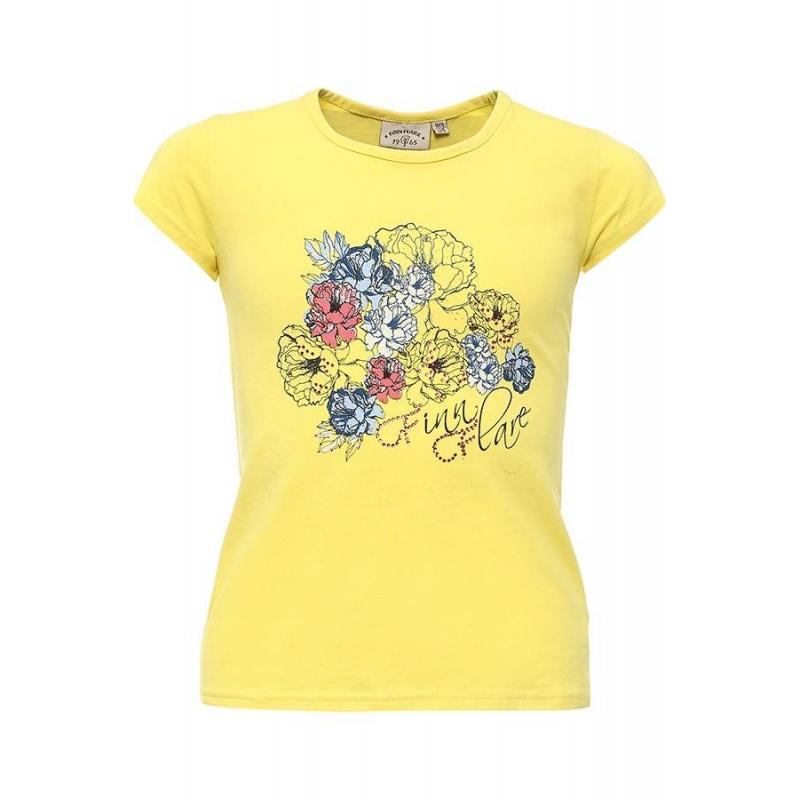 ФутболкаФутболкажелтогоцвета марки Finn Flare для девочек.<br>Однотонная футболка с коротким рукавом выполнена из хлопка с добавлением эластана и декорирована принтом с изображением цветов, а также украшена стразами.<br><br>Размер: 9 лет<br>Цвет: Желтый<br>Рост: 134<br>Пол: Для девочки<br>Артикул: 645460<br>Страна производитель: Бангладеш<br>Сезон: Весна/Лето<br>Состав: 95% Хлопок, 5% Эластан<br>Бренд: Финляндия
