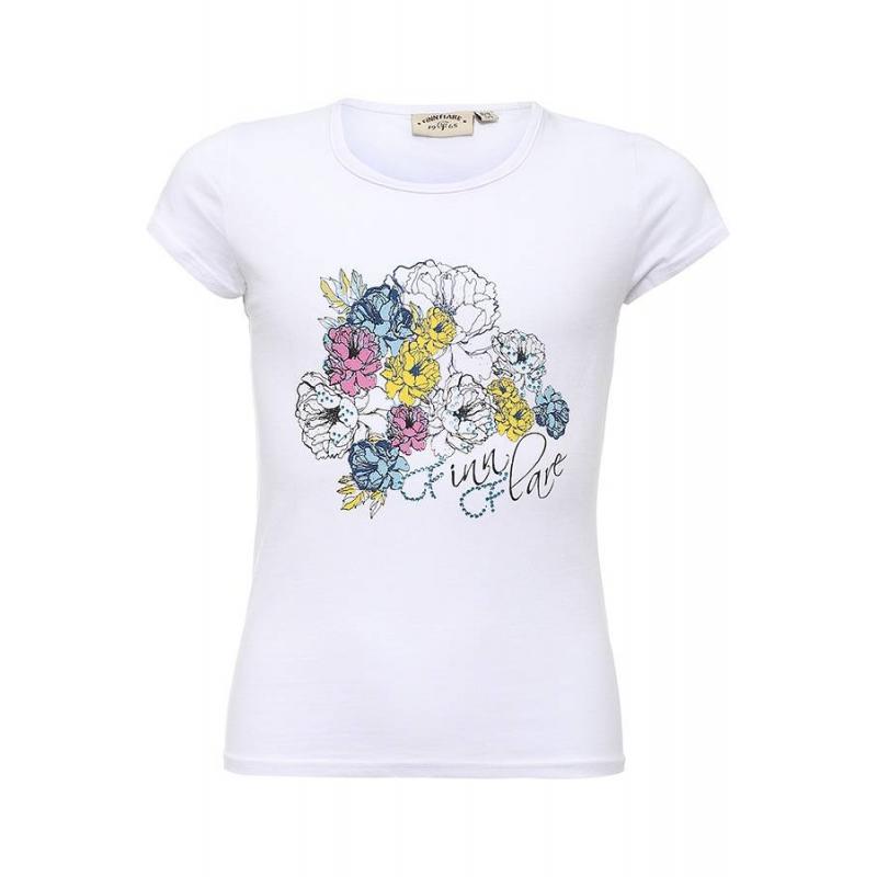 ФутболкаФутболкабелогоцвета марки Finn Flare для девочек.<br>Однотонная футболка с коротким рукавом выполнена из хлопка с добавлением эластана и декорирована принтом с изображением цветов, а также украшена стразами.<br><br>Размер: 11 лет<br>Цвет: Белый<br>Рост: 146<br>Пол: Для девочки<br>Артикул: 645458<br>Страна производитель: Бангладеш<br>Сезон: Весна/Лето<br>Состав: 95% Хлопок, 5% Эластан<br>Бренд: Финляндия