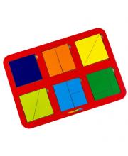 Рамка-вкладыш Сложи квадрат 6 квадратов уровень 1 Woodland