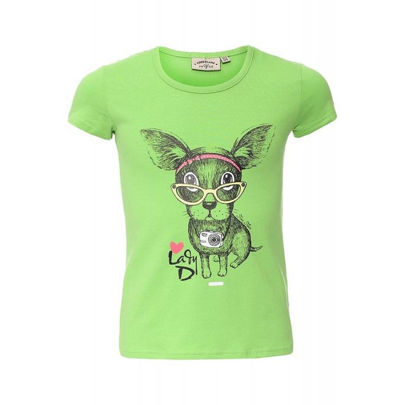 ФутболкаФутболказеленогоцвета марки Finn Flare для девочек.<br>Яркаяфутболка с коротким рукавом выполнена из хлопка с добавлением эластана и декорирована принтом с изображением забавной собаки.<br><br>Размер: 11 лет<br>Цвет: Зеленый<br>Рост: 146<br>Пол: Для девочки<br>Артикул: 645467<br>Страна производитель: Бангладеш<br>Сезон: Весна/Лето<br>Состав: 95% Хлопок, 5% Эластан<br>Бренд: Финляндия