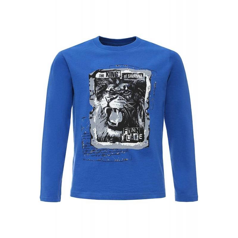 Футболка с длинным рукавомФутболка с длинным рукавом синегоцвета марки Finn Flare для мальчиков.<br>Однотонная футболка насыщенного цвета выполнена из чистого хлопка и декорирована принтом с изображением льва.<br><br>Размер: 13 лет<br>Цвет: Синий<br>Рост: 158<br>Пол: Для мальчика<br>Артикул: 645476<br>Страна производитель: Бангладеш<br>Сезон: Весна/Лето<br>Состав: 100% Хлопок<br>Бренд: Финляндия
