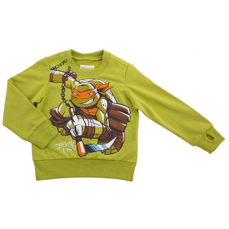 ТолстовкаТолстовка зеленого цвета марки Button Blue для мальчиков.<br>Толстовка декорирована принтом с изображением Микеланджело из мультфильма Черепашки Ниндзя, а также дополнена широкими резинками.<br><br>Размер: 4 года<br>Цвет: Зеленый<br>Рост: 104<br>Пол: Для мальчика<br>Артикул: 636516<br>Бренд: Россия<br>Страна производитель: Китай<br>Сезон: Весна/Лето<br>Состав: 60% Хлопок, 40% Полиэстер<br>Лицензия: Черепашки Ниндзя