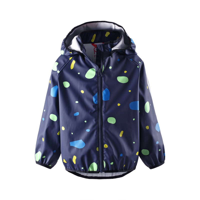 Куртка-дождевикКуртка-дождевиктемно-синегоцвета марки Reima длямальчиков.<br>Курточкавыполнена из водонепроницаемого материала с грязеотталкивающими свойствами. Модель, застегивающаяся на молнию, дополнена безопасным съемным капюшоном на кнопках и украшена ярким разноцветным принтом. Манжеты на резинкахобеспечивают плотное прилегание и защищают от ветра. Светоотражающие детали на куртке обеспечивают безопасность в темное время суток.<br><br>Размер: 5 лет<br>Цвет: Темносиний<br>Рост: 110<br>Пол: Для мальчика<br>Артикул: 645519<br>Страна производитель: Китай<br>Сезон: Весна/Лето<br>Состав: 100% Полиэстер<br>Бренд: Финляндия<br>Вид застежки: Молния<br>Покрытие: Полиуретан<br>Тип: Лето<br>Серия: Reima