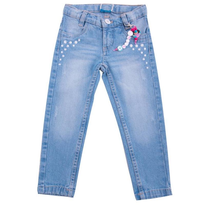 ДжинсыДжинсы голубого цвета марки Button Blue для девочек.<br>Хлопковые зауженные джинсы украшены надписью, вышивкой кружков и бусами с изображением Даши Путешественницы. Модель дополнена передними и задними карманами, а также шлейками для ремня.<br><br>Размер: 6 лет<br>Цвет: Голубой<br>Рост: 116<br>Пол: Для девочки<br>Артикул: 636697<br>Страна производитель: Бангладеш<br>Сезон: Весна/Лето<br>Состав: 98% Хлопок, 2% Эластан<br>Бренд: Россия<br>Вид застежки: Молния