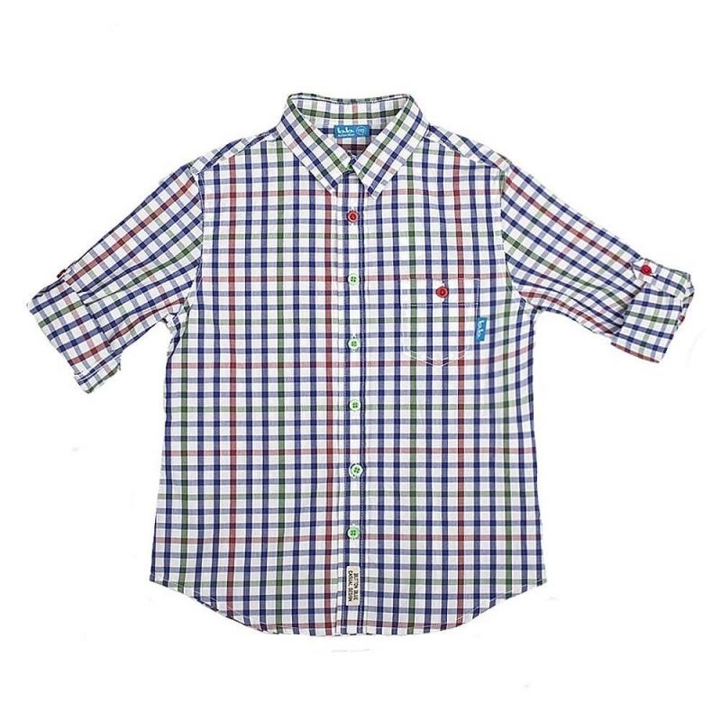 РубашкаРубашка темно-синего цвета марки Button Blueдля мальчиков.<br>Рубашка с отложным воротничком из стопроцентного хлопка декорирована клеткой, дополнена кармашком, а также пуговицами красного и зеленого цвета. Рукава можно подвернуть, для удобства есть шлейки и пуговицы.<br><br>Размер: 14 лет<br>Цвет: Темносиний<br>Рост: 158<br>Пол: Для мальчика<br>Артикул: 635912<br>Страна производитель: Китай<br>Сезон: Весна/Лето<br>Состав: 100% Хлопок<br>Бренд: Россия<br>Вид застежки: Пуговицы