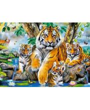 Пазл Семья тигров у ручья Кастор