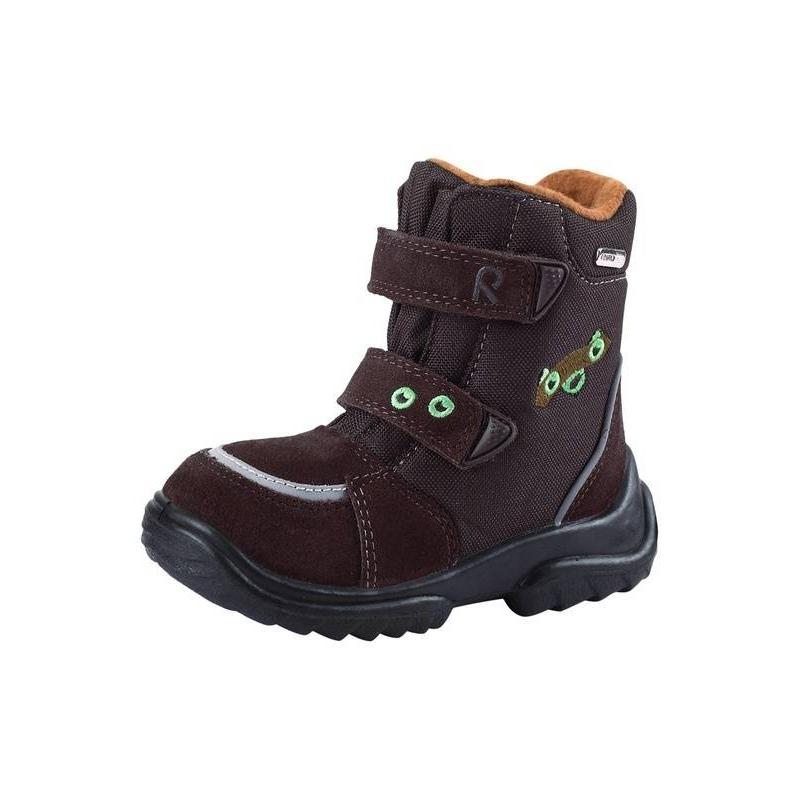 БотинкиКоричневыеботинки марки REIMA серииREIMA TEC.<br>Теплые водонепроницаемые ботинки с верхом из натуральной замши и текстиля дополнены мягкой ворсистой текстильной подкладкой. Легкая полиуретановая подошва и стельки из фетра хорошо изолируют и сохраняют ноги в тепле. Застежки-липучки обеспечивают хорошее прилегание к ноге. Съемные стельки со специальным рисунком помогают подобрать правильный размер. Есть светоотражающие детали для безопасности ребенка.<br><br>Размер: 21<br>Цвет: Коричневый<br>Пол: Не указан<br>Артикул: 645697<br>Страна производитель: Вьетнам<br>Сезон: Осень/Зима<br>Материал верха: Текстиль / Нат. кожа<br>Материал подкладки: Текстиль<br>Материал стельки: Текстиль<br>Материал подошвы: Полиуретан<br>Бренд: Финляндия<br>Тип: Зима<br>Серия: Reimatec